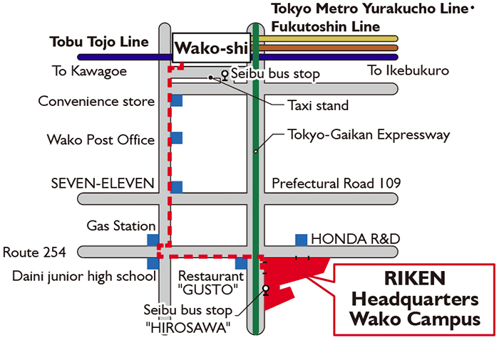 Map showing direction from Wako-shi Station to RIKEN