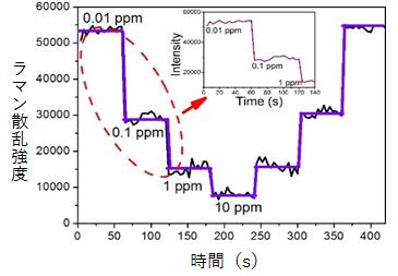 作製したマイクロ流体SERSセンサーを用いたCd2+の高感度リアルタイム検出の図
