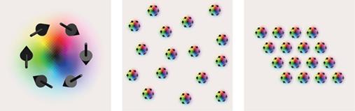 1個のスキルミオン(左)、孤立スキルミオン(中)、スキルミオン結晶(右)の模式図の画像