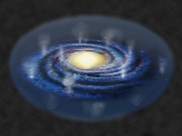 天の川銀河から高温プラズマが噴き出し、銀河全体を包み込んでいる様子の想像図の画像