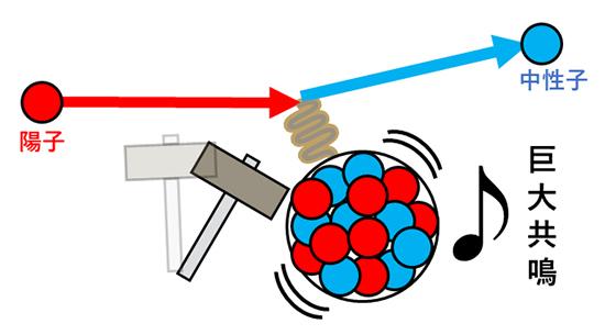 荷電交換(p, n)反応を用いた巨大共鳴の励起のイメージの図