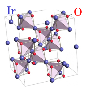 スピネル化合物Ir2O4のバルク結晶構造の図