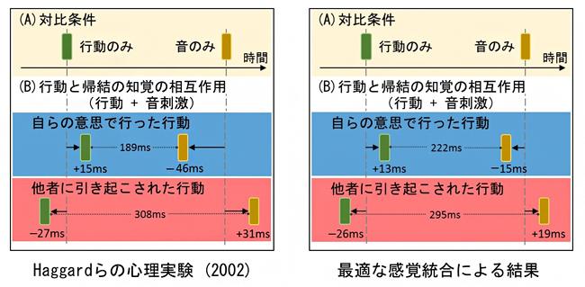 行動と帰結の時間知覚の図