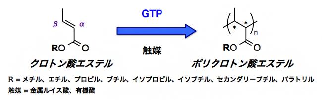 クロトン酸エステルのグループトランスファー重合(GTP)の図