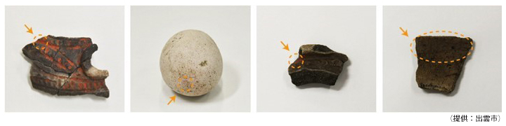 京田遺跡の彩色された出土品の図(提供:出雲市)