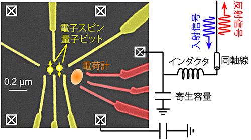シリコン量子ドット試料と高周波反射測定セットアップの図