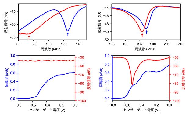 従来および新しく設計した試料における高周波反射測定結果の比較の図