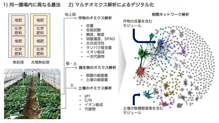 マルチオミクス解析による農業生態系のデジタル化の図