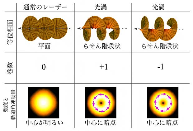 光渦ビームの巻数と周辺の強度分布の関係の図