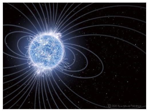 宇宙最強の磁石星「マグネター」と磁力線の想像図の画像