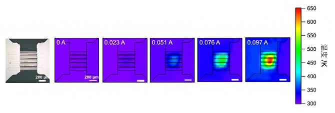 微小加熱ヒーター機構付き試料メンブレンの図