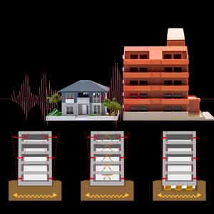Schematic showing the hydrogels stabilize buildings during earthquakes