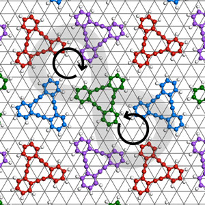 image of model structure of meso-isomerism in two-dimensional chirality for dehydrobenzo[12]annulene on a silver substrate