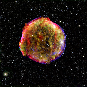 Combined x-ray and infrared image of the Tycho supernova